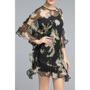 Floral Ruffle See Thru Mini Dress -