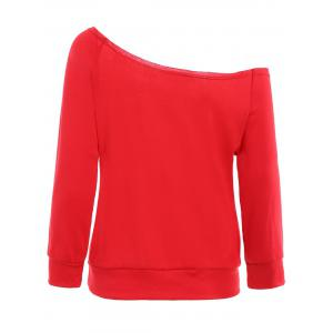 Christmas Skew Neck Long Sleeve Letter Pattern Sweatshirt For Women -