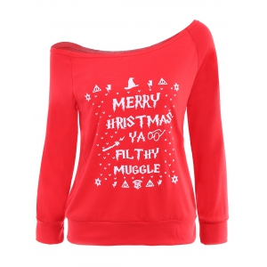 Christmas Skew Neck Long Sleeve Letter Pattern Sweatshirt For Women