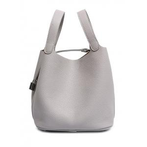 Concise Lock and Solid Color Design Tote Bag For Women - Gray