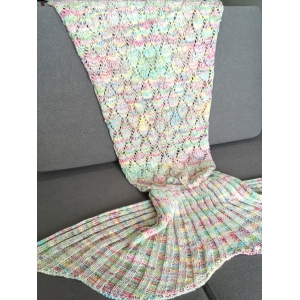 Fashion Colorful Hollow Out Mermaid Tail Design Knitting Blanket For Adult - COLORMIX