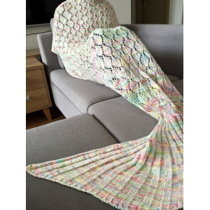 Fashion Colorful Hollow Out Mermaid Tail Design Knitting Blanket For Adult -