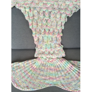 High Quality Fish Scale Shape Mermaid Tail Design Knitting Blanket For Adult - COLORMIX