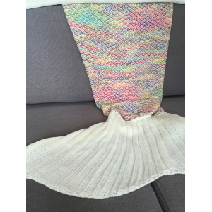 Stylish Colorful Crochet Knitting Mermaid Tail Design Sleeping Blanket For Adult - COLORMIX