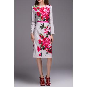 Slimming Long Sleeve Floral Print Dress -