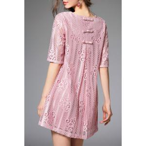 Bowknot Lace A Line Half Sleeve Dress -