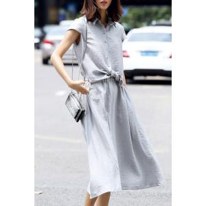 Polo Collar Tie Front Solid Color Dress -