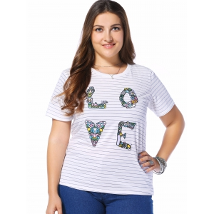 Plus Size Striped LOVE Graphic Tee - BLUE 3XL