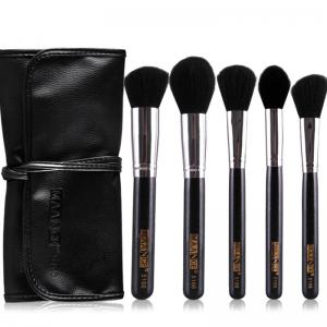 Stylish 5 Pcs Multifunction Nylon Face Makeup Brushes Set with Brush Package - Black