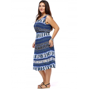 Bohemian Women's Plus Size Sleeveless Full Print Dress -
