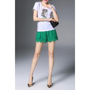 Beaded Owl Pattern T-Shirt and Lace Shorts -