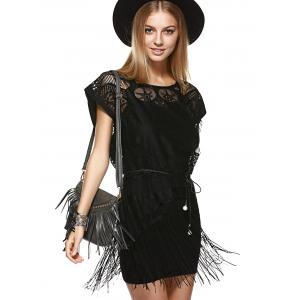Fashionable Round Neck Openwork Fringe Top + Cami Dress Twinset For Women -