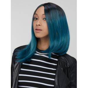 Attractive Synthetic Medium Straight Side Parting Mixed Color Wig