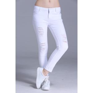 Ripped Bodycon Ankle Pants -