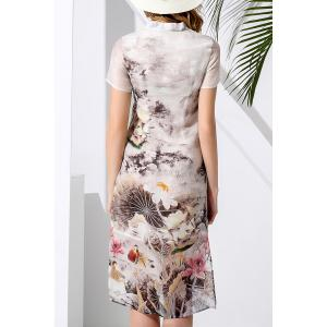 Stand Collar Flower Pattern Dress -