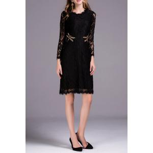 Beaded Dragonfly Lace Dress -
