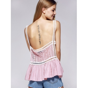 Stylish V-Neck Lace Openwork Tank Top For Women -
