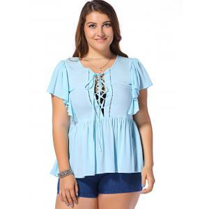 Fashionable Plus Size Dolman Sleeves Opening Thorax Frenum Scoop Neck Blouse For Women - LIGHT BLUE 4XL