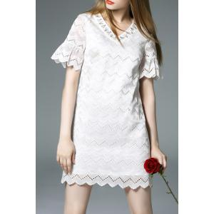 V Neck Beaded Hollow Out Bell Sleeve Dress -