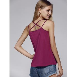 Chic Spaghetti Strap Embroidered Criss-Cross Women's Tank Top -