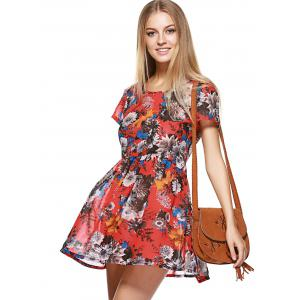 Short Sleeve Floral Print Race Day Dress -