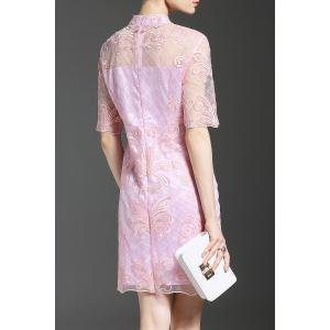 Embroidered Stand Collar See Through Dress -
