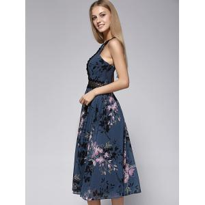 Charming Sleeveless Floral Print Hollow Out Lace Spliced Women's Dress -