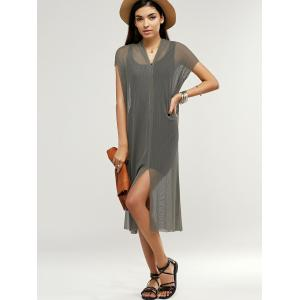Simple Short Sleeve Airtex Slit Twinset Dress For Women -