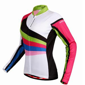 Multi-Colored Breathable Long Sleeve Jersey + Pants Outdoor Cycling Suits For Women -
