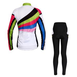 Multi-Colored Jersey respirante manches longues + Pantalons Cyclisme Outdoor Costumes pour les femmes -