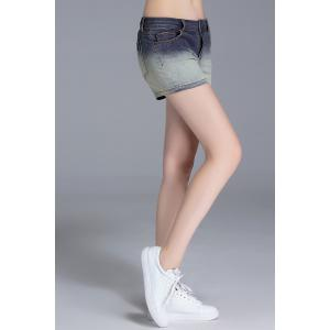 Ombre Color Sheath Denim Shorts -