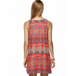 Ethnic Style Tribal Pattern Mini Dress -
