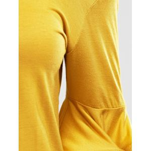 Charming Cold Shoulder Flare Sleeve Pure Color T-Shirt For Women -