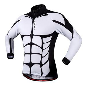 Fashion Muscle Pattern Breathable Quick Dry Cycling Long Sleeve Jersey For Unisex - WHITE AND BLACK 2XL
