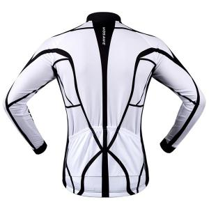 Fashion Muscle Pattern Breathable Quick Dry Cycling Long Sleeve Jersey For Unisex - WHITE/BLACK 2XL
