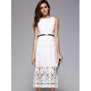 Lace Sheer Wedding Guest Tea Length Dress - WHITE L