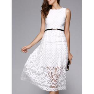Lace Sheer Wedding Guest Tea Length Dress - White - L