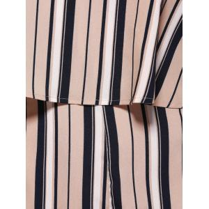 Alluring One Shoulder Stripe Flounce Palazzo Romper For Women -