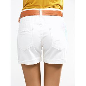 Chic Ripped Color Spray Denim Shorts For Women -