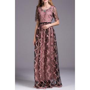 Floral Embroidered Floor Length Dress -