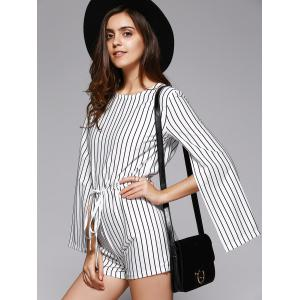 Elegant Women's Striped Cape Sleeve Cut Out Romper -
