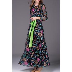 Floral Embroidered Belted Long Dress -