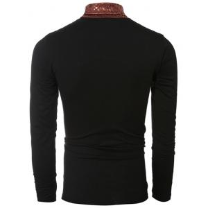 Turtle Neck Metal Style Splicing Design Long Sleeve T-Shirt For Men - BLACK M