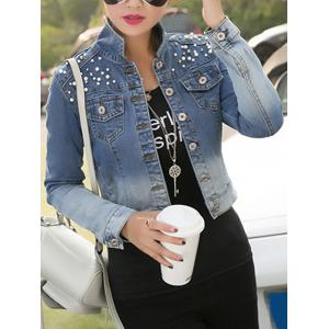 Beading Gradient Buttoned Denim Jacket