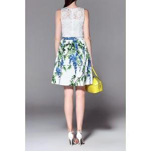 Printed A Line Skirt with Lace Top -