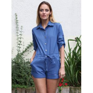 Shirt Collar Solid Color 3/4 Sleeve Lace-Up Jeans Rompers -