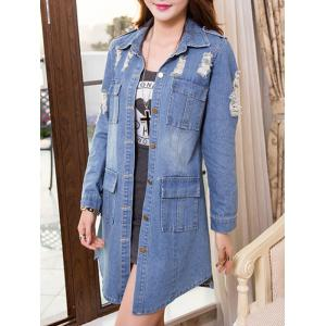 Ripped Single-Breasted Asymmetrical Denim Coat -
