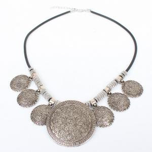 Vintage Faux Leather Rope Engraved Floral Necklace -