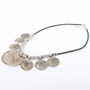 Vintage Faux Leather Rope Engraved Floral Necklace - SILVER