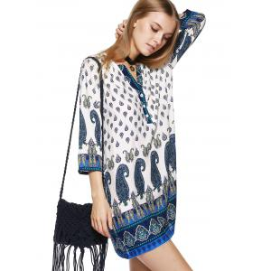 Paisley Print Mini Tunic Shift Bohemian Dress -